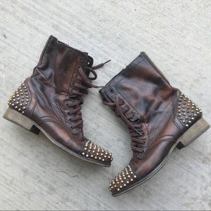 Steve Madden Tarnney Leather Studded Combat Boots